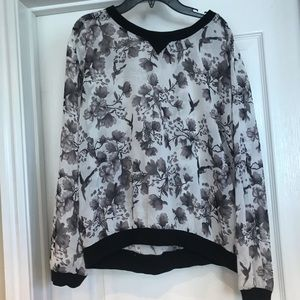 H&M Sz 8 Sheer Floral, Tree & Birds Shirt